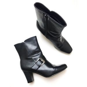 Predictions • Black Ankle Booties with Buckles